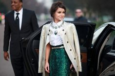 The 30 Best Street-Style Snaps From LFW -- love the winter white coat with accents of emerald