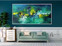 This extra large abstract painting will beautifully complement an interior with blue or green decor elements. Horizontal composition and size make it perfect addition for a living room, bedroom, or dining room. This item is fully handmade, painted with acrylic paints on canvas, varnished, signed and