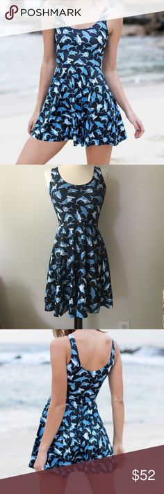 BLACKMILK NEW MR SHARK SCOOP SKATER DRESS Never worn, super cute , SOLD OUT. At BlackMilk site BlackMilk Dresses Midi
