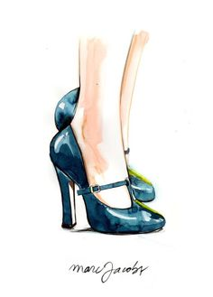 мода, туфли, иллюстрации
