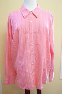 Womens 22 24W Plus Top Relaxed Cotton Blend Stretch Button Front LS Stripes Pink #GeorgeWoman #ButtonDownShirt #Casual