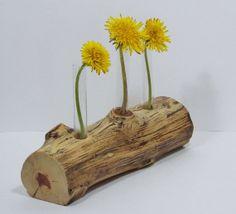 Rustic Flower Vase Found Wood 3 Test Tube Bud Vase by llacarve, $15.00
