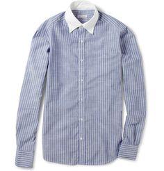 Michael Bastian Contrast-Collar Slim-Fit Cotton Shirt