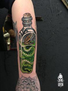 Snake new school tattoo