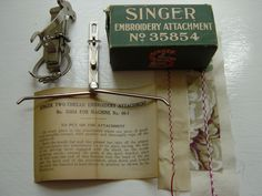 """Singer Two Thread Embroidery Attachment for Back Clamp """"Red Eye"""" Model 66"""