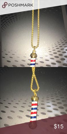 NWOTGoldtone Barber Pole Necklace Brand new without tags...Barber/Beauty  Jewelry Unisex Jewelry Necklaces