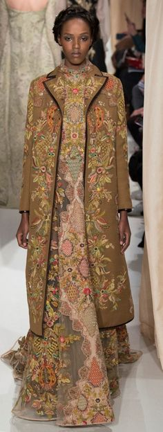 Valentino Brown Embroidered Dress and Coat