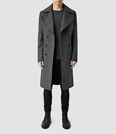 All Saints Men's Gray Plaid Miller Overcoat