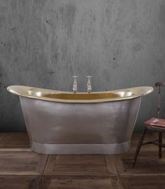 Our classic Bateau has a modern looking sibling with slightly straighter sides and satin finish! #Brass #Bateau #Bath #Bathrooms #Luxury #Bespoke #Handmade #Home #Decor