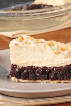 Mile-High Peanut Butter-Brownie Pie Recipe with a flaky pie crust, rich brownie base, and creamy peanut butter filling
