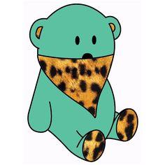 green bear & leopard bandana
