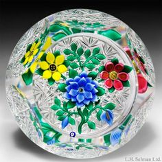 Bob Banford three flower faceted glass paperweight