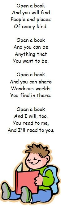 Inspiring! Print off, laminate and make these bookmarks, each with a poem about reading or books: