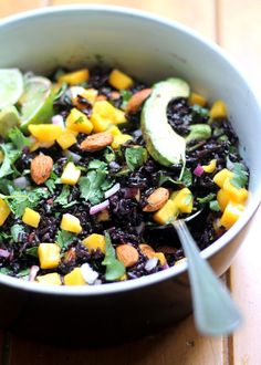 Mango & Avocado Black Rice Salad with Cilantro-Lime Vinaigrette (GF)