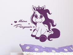 Fabulous Niedliches Pony mit Kr nchen und Aufschrift kleine Prinzessin als Wandaufkleber f rs Kinderzimmer Wandtattoo KinderzimmerKleine Prinzessin Ponys