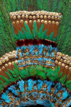 Detail of the Penacho de Moctezuma (feathered headdress) at the Mexico City…