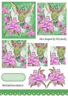 Humming bird with pink lillies butterflies pyramids on Craftsuprint - Add To Basket!