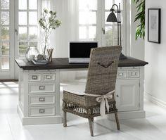 Schreibtischkombination mit Rattan-Stuhl Woody 112-00334