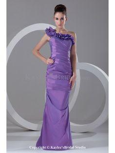 Taffeta One-Shoulder Neckline Floor Length Sheath Directionally Ruched Prom Dress