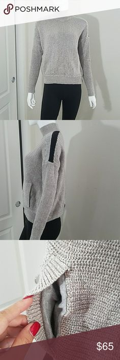 Victoria's Secret Knit Sweater TOO SUPER CUTE! This sweater has pockets! Cute stripes along shoulders & a stripe down the center back! Stripes are Oatmeal Gray & Black. 100% Cotton. Machine wash. Oatmeal brown color. Victoria's Secret Sweaters