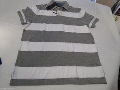 Mens Tommy Hilfiger Polo shirt S Striped 7861233 Sport Grey Hthr 031 Custom Fit #TommyHilfiger #polo