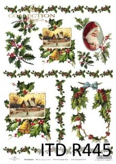 Rice Paper for Decoupage Scrapbooking Christmas Vintage Holly A4 ITD R781