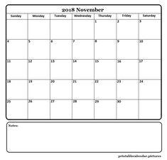November 2018 Printable Calendar November Printable Calendar, Free Calendar, Calendar 2018, Blank Calendar, Printable Calendar Template, Printables, Wall, Print Templates, Walls