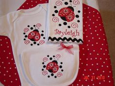 Baby Girl Ladybug Burpcloth Bib and Onesie Set with Ladybug Applique. $27.95, via Etsy.