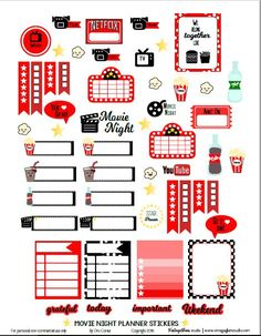 Movie Night Planner Stickers | Free printable, for personal use only by Vintage…