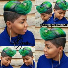 This custom colored quick weave was installed and styled by Angie Jackson Shop stizzy - Hairstyles Shaved Side Hairstyles, Quick Weave Hairstyles, Mohawk Hairstyles, Cute Hairstyles For Short Hair, Black Hairstyles, Haircuts, Bold Hair Color, Pretty Hair Color, Beautiful Hair Color