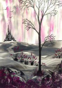 Encaustic fantasy landscape