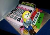 Accounting Theme Pink Calculator Retirement Cake with Woman.JPG