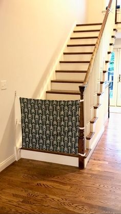Custom Fabric Baby & Pet Gate- Hooks Directly to Staircase Wall - best baby products list Baby Gate For Stairs, Diy Baby Gate, Stair Gate, Banister Baby Gate, Staircase Gate, Safety Gates For Stairs, Staircase Wall Decor, Stair Handrail, Fabric Baby Gates