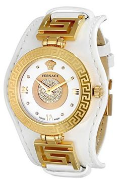 Versace Women's Vanity Watch With White Leather Band Pink Watch, Gold Watch, Versace Jewelry, Bling Jewelry, Jewellery, Versace Mansion, Elegant Watches, Cool Watches, Unique Watches