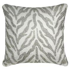 Ivory Sparkle Zebra Cushion W40 x D40 cm