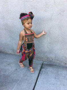 Items similar to African Ankara Dashiki Print Jumpsuit Romper Outfit - Baby / Toddler / Girls - Hot Pink Dashiki - - on Etsy Baby Girl Dress Patterns, Dresses Kids Girl, Little Girl Outfits, Toddler Outfits, Kids Outfits, African Dashiki, African Wear, African Kids, Latest African Fashion Dresses