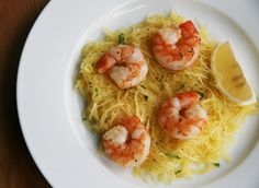 Roasted shrimp over spaghetti squash -- a healthy alternative to shrimp scampi.