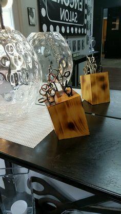 "Salon Decor ~ Hair Salon Decor ~ Scissor Holder ~ Hair Salon Logo ~ Hair Stylist Gift ~ Scissor Holder Wood ~ Pine Wood JC Scissor Block SALON DECOR: Introducing the JC Scissor Block; the latest MUST HAVE scissor holder made from solid PINE wood making it the HOTTEST hair stylist gift ever!!  HAIR SALON DECOR: This solid pine wood scissor holder is a customized hair stylist gift. This stylist wanted her JC Scissor Block made from pine wood with a ""burnt"" finish technique that was later…"