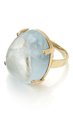 14K and Solitare Aquamarine Cabochon Ring by Tara Compton for Preorder on Moda Operandi