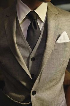 Three piece gray suit Calvin Klein.