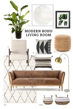 12 Modern Boho Living Room Ideas. Inspiration for a modern bohemian living room with moroccan style boho decor in lots of neutral hues. #homedecor #homedecorideas #boho #bohemian #livingroom