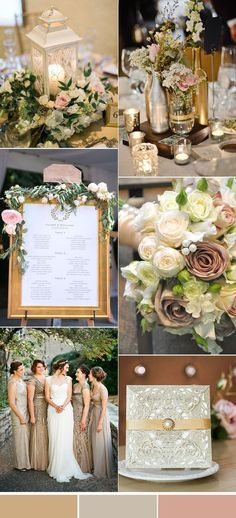 gold and blush vintage wedding colors