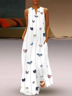 3ac7299d541 Butterfly Printed Sleeveless V Neck Maxi Dress No reviews