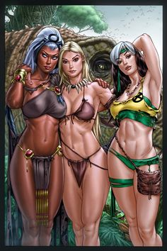 Storm, Shanna, Rogue Savage Land by *vic55b on deviantART.  I wont them all naked in a hot tub. They all thick as hell.
