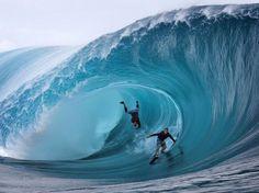 Dans un rouleau à Tahiti.