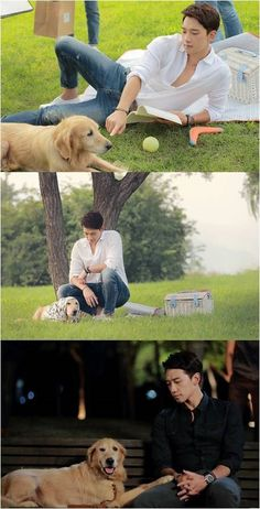 """[article][past CF] New Stills for """"My Lovely Girl"""" Display Rain's Compatibility with His Canine Acting Partner."""