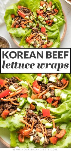 Use ground beef to make these Korean Beef Lettuce Wraps in less than 20 minutes! Delicious, healthy, easy to make; great for meal prep, too! Easy Lettuce Wraps, Healthy Meals, Healthy Recipes, Korean Beef, Wrap Recipes, Lunches And Dinners, Quick Easy Meals, Meal Ideas, Ground Beef
