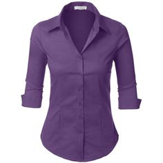 LE3NO Womens Roll Up 3/4 Sleeve Button Down Shirt with Stretch ($11) ❤ liked on Polyvore featuring tops, three quarter sleeve shirts, purple button up shirt, purple top, 3/4 sleeve shirts and 3/4 sleeve tops