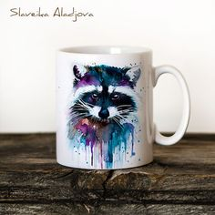 Raccoon Mug Watercolor Ceramic Mug Unique Gift Coffee Mug Animal Mug Tea Cup Art Illustration Cool Kitchen Art Printed mug by SlaviART on Etsy https://www.etsy.com/au/listing/253074502/raccoon-mug-watercolor-ceramic-mug