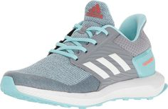 adidas Performance Girls' Rapidarun K, Grey/White/Clear Aqua, 13K M US Little Kid. Start off and race to flourishing finish with the adidas® Kids RapidaRun sneakers!. Air mesh upper with synthetic overlay. Supportive forefoot overlay and midfoot cage. TPU heel counter adds support. Lace-up closure for a snug wear. Textile lining for a great wear in-shoe. cloudfoam SURROUND memory foam footbed molds to the natural shape of foot. Rubber outsole with running-specific tread design. Imported....